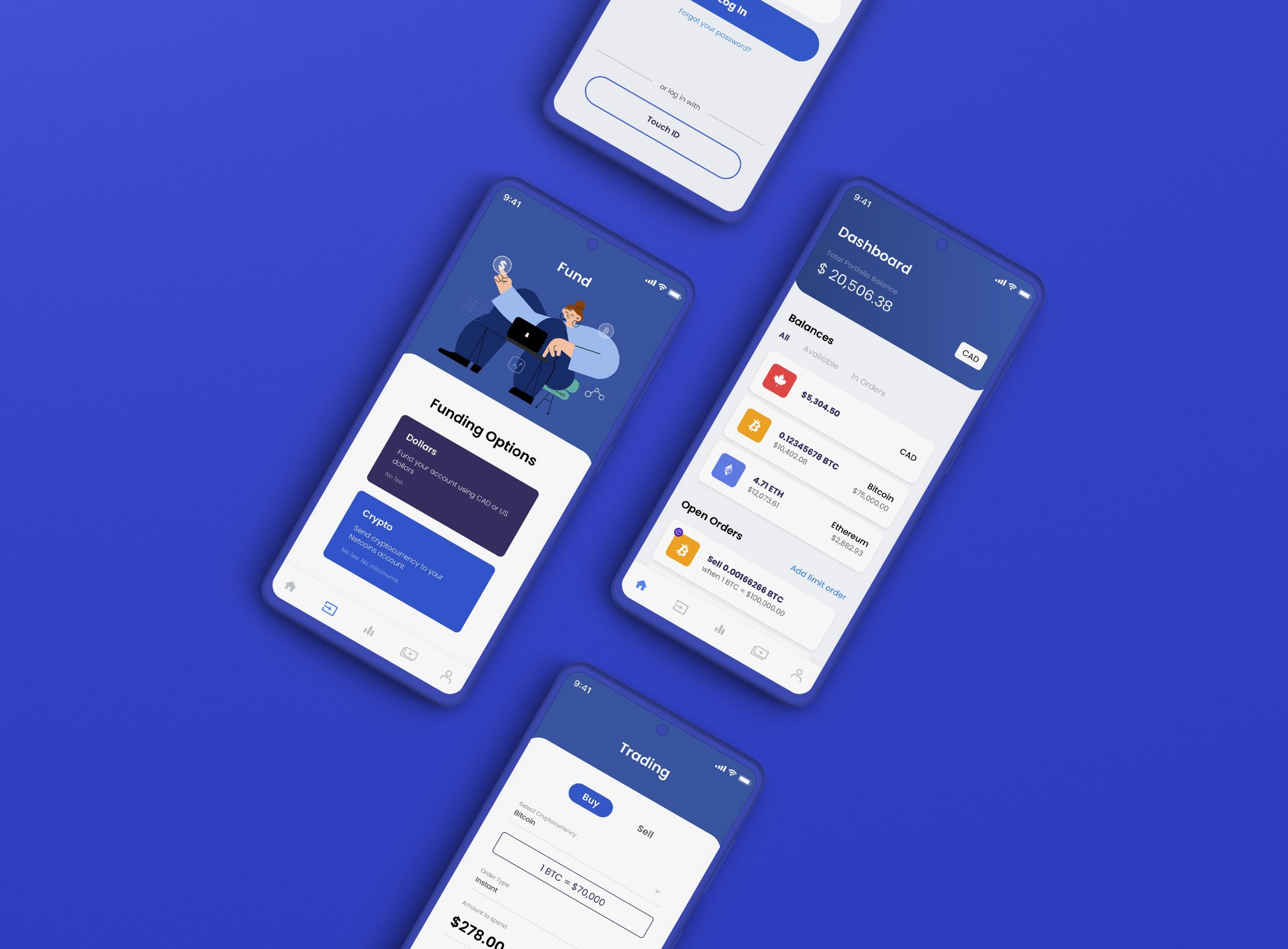 Netcoins Mobile App - Dashboard, Funding & Trading