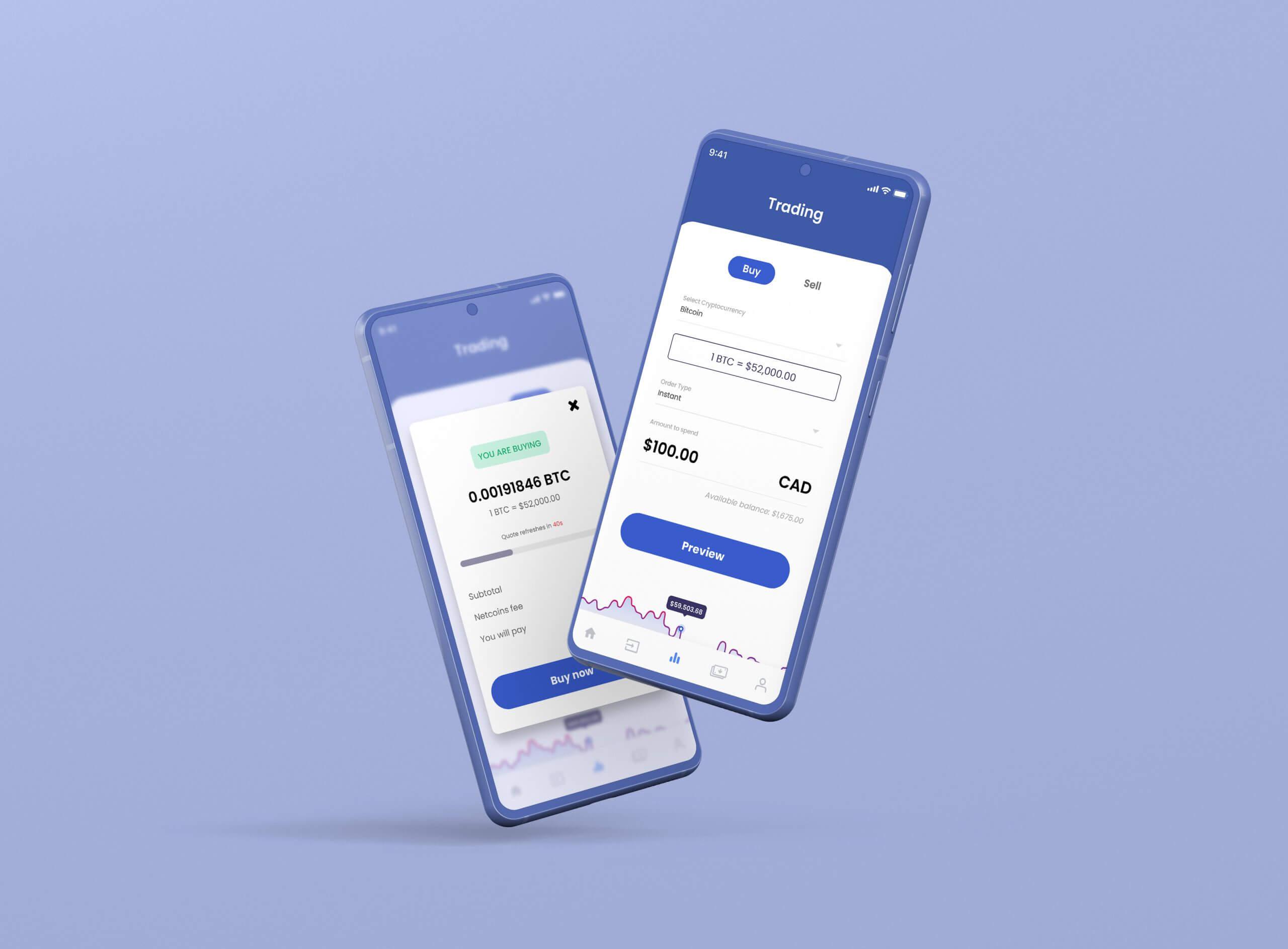 Netcoins Mobile App - Trading