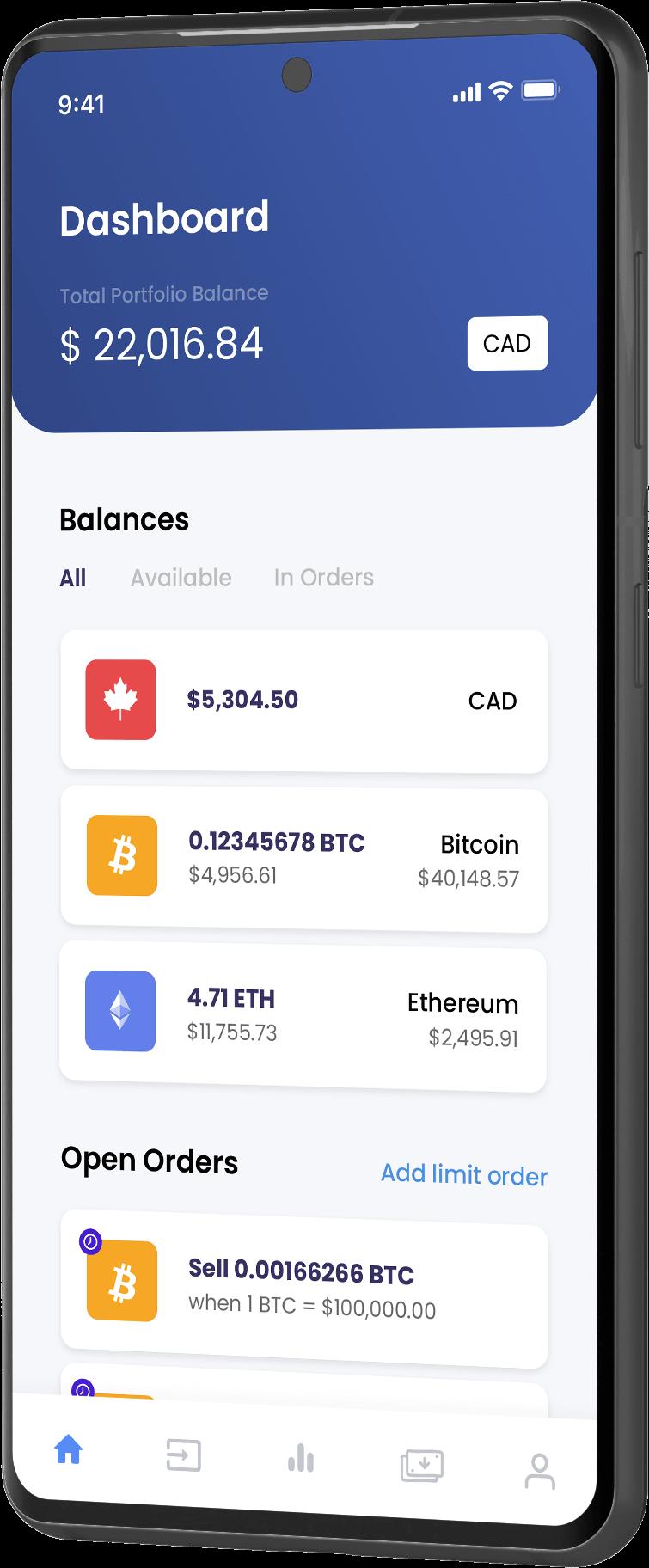 Netcoins Mobile App - Dashboard